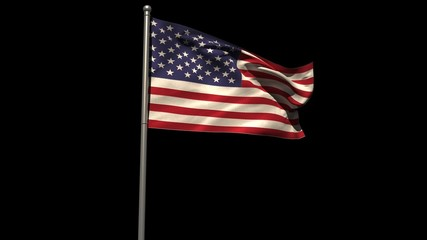 America national flag waving on flagpole