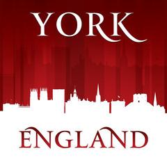 York England city skyline silhouette red background
