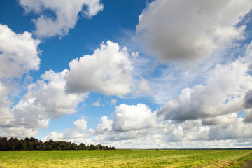 Empty country landscape with dramatic cloudy sky