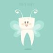tooth fairy, healthy white teeth vector, flat design