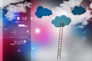 a competition concept, clouds with ladders
