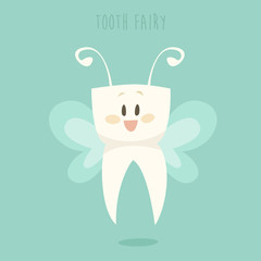 tooth fairy, healthy white teeth vector, flat design