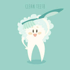 clean the teeth, healthy white teeth vector illustration