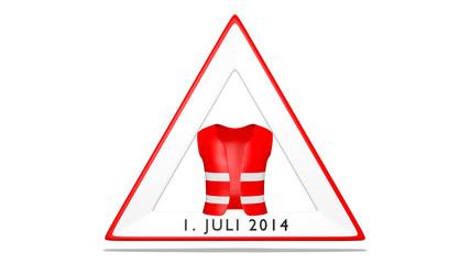Warnweste mit Verkehrsschil, Konzept Sicherheit