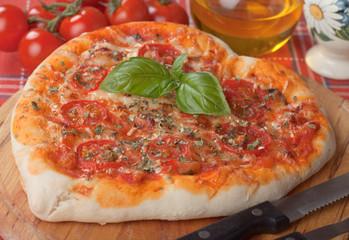 Heart shaped pizza margherita