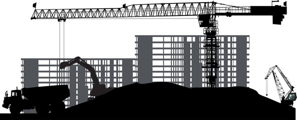 industrial landscape with black tower crane