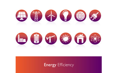 Energy Efficiency, Icons Vector