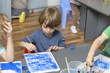 Kid Painting at Kindergarten