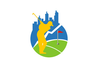 golf in city vector logo