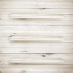 Blank white wooden bookshelf