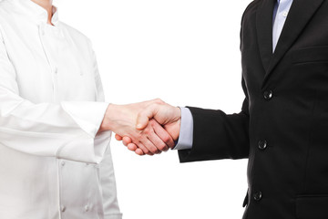 handshake between a cooker and a businessman