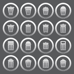 Vector of transparent icon, trashcan set on isolated background