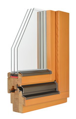 Wooden window profile with tripple glazing
