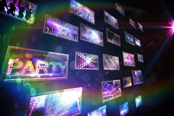 Screen collage showing disco images