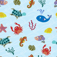 Seamless pattern with cute sea animals.