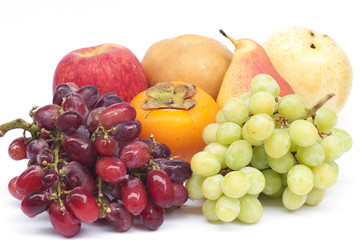 Fresh fruits isolated on white background.