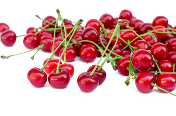 ripe cherries on a white background