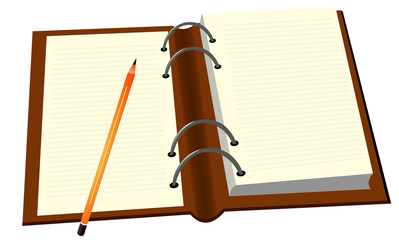 Vector format of opened diary and pencil