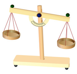 Vector format of old mechanical arm scales with pans