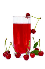 juice glass with cherries the isolated