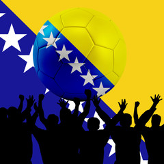 Mass cheering with Bosnia and Herzegovina Soccer ball