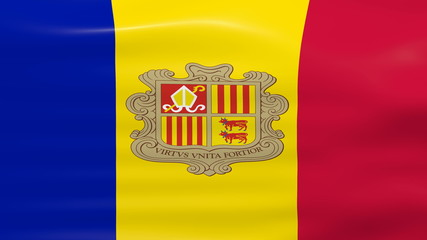 Waving Andorra Flag, ready for seamless loop.