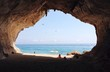 View of the sea from a cave in Luna, Sardinia, Italy