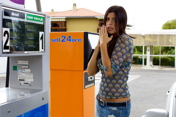 Woman feeling bad for high price of gasoline