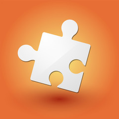 puzzle piece on orange background