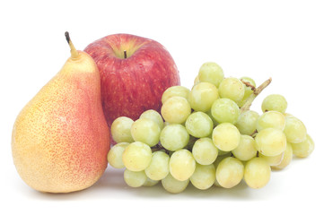 Fresh pear grape and apple isolated on white background.