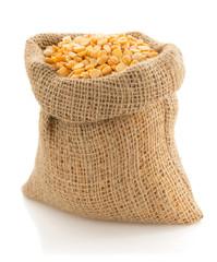 pea grain in sack bag on white