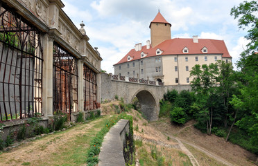 The old greenhouses and Veveri Castle, Czech Republic, Europe