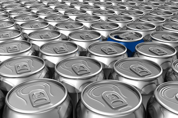 Blue soda can standing out