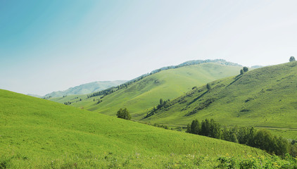 Beautiful summer landscape with green hills and bright blue sky