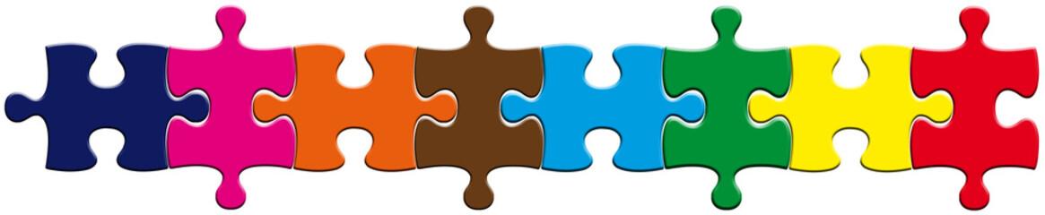 puzzle, bande colorée