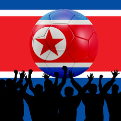 Mass cheering with North Korea Soccer ball