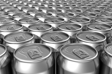 Aligned soda cans
