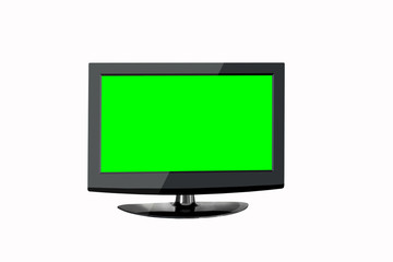 TV with green screen on a white background