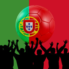 Mass cheering with Protugal Soccer ball