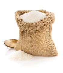 sugar granules in bag on white
