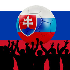Mass cheering with Slovakia Soccer ball