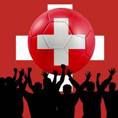 Mass cheering with Switzerland Soccer ball