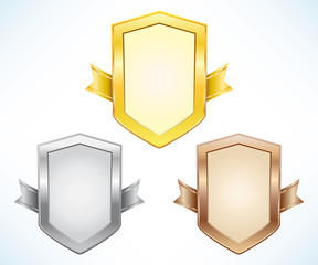 Gold, silver and bronze shield