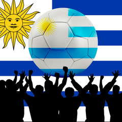 Mass cheering with Uruguay Soccer ball