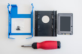 SSD solid state drive disk installation kit as seen from above poster