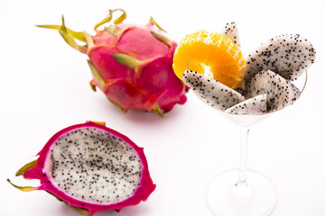 Vibrant purple fruit with white pulp: Pitaya