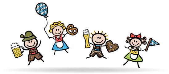 4 lustige Oktoberfestbesucher beim Freudensprung, handgezeichnet