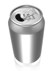 Silver soda can with reflection