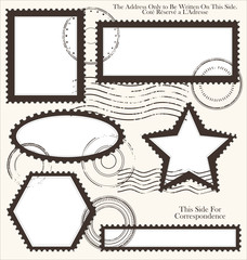Post stamp set, vector illustration