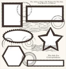 Post stamp set, vector illustration